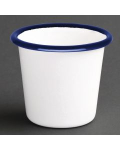 This is an image of a Olympia Enamel WhiteBlue Sauce Cup - 115ml 4oz (Box 6)