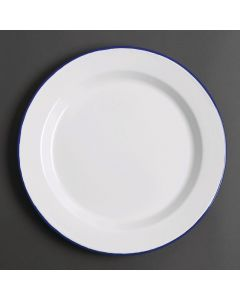 "This is an image of a Olympia Enamel WhiteBlue Dinner Plate - 300mm 12"" (Box 6)"