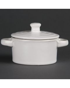 This is an image of a Olympia Mini Round Pot Matt White - 75x85mm 142ml 5oz (Box 4)