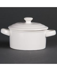 This is an image of a Olympia Mini Round Pot Matt White - 75x100mm 227ml 8oz (Box 4)