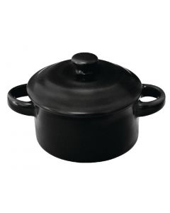 This is an image of a Olympia Mini Round Pot Matt Black - 75x85mm 142ml 5oz (Box 4)