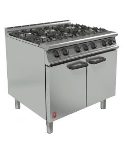 This is an image of a Falcon 6 Burner Dominator Plus Oven Range G3101 Natural Gas with Feet