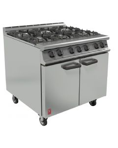 This is an image of a Falcon 6 Burner Dominator Plus Oven Range G3101 Propane Gas with Castors