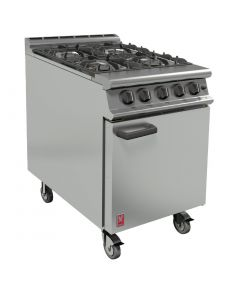 This is an image of a Falcon 4 Burner Dominator Plus Oven Range G3161 Propane Gas with Castors