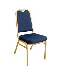 This is an image of a Bolero Squared Back Banquet Chair Blue (Pack of 4)