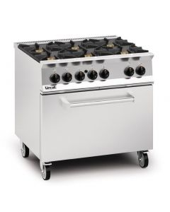 This is an image of a Lincat Opus 800 Natural Gas 6 Burner Range with Drop Down Door OG8002N