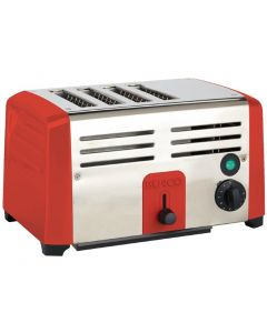 This is an image of a Burco Commercial 4 Slice Toaster TSSL14 RED
