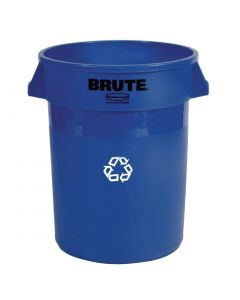 This is an image of a Rubbermaid Round Brute Container with Recycling Logo 121Ltr