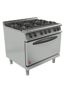 This is an image of a Falcon Dominator Plus 6 Burner Oven Range G3101D Propane Gas with Feet