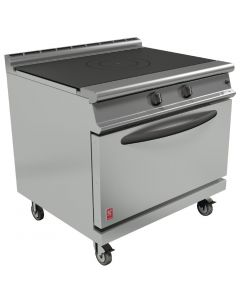 This is an image of a Falcon Dominator Plus Solid Top Natural Gas Oven Range G3107D with Castors