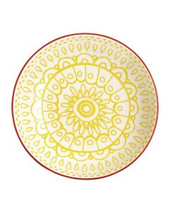 "This is an image of a Olympia Fresca Yellow Flat Bowl - 195x44mm 7 34x1 34"" 630ml 22oz (Box 6)"