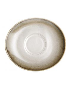 "This is an image of a Olympia Birch Taupe Saucer - 140x125mm 5 12"" (Box 6)"