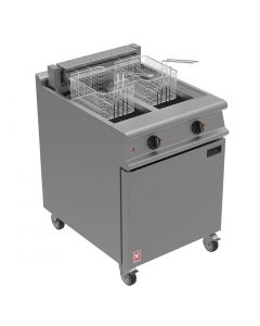 This is an image of a Falcon Dominator Plus Twin Pan Electric Fryer on Castors E3865