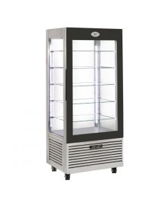 This is an image of a Roller Grill Display Fridge with Fixed Shelves Stainless Steel