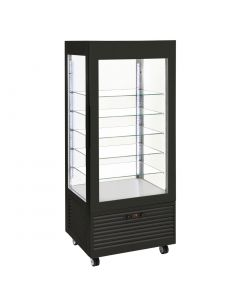 This is an image of a Roller Grill Display Fridge with Fixed Shelves Black