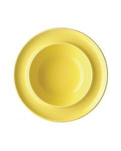 "This is an image of a Olympia Heritage Yellow Raised Rim Bowl - 8"" (Box 4)"