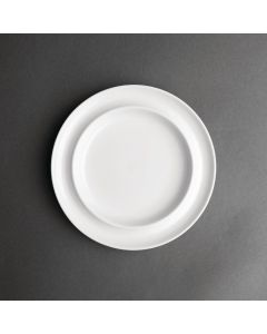 "This is an image of a Olympia Heritage White Raised Rim Plate - 8"" (Box 4)"