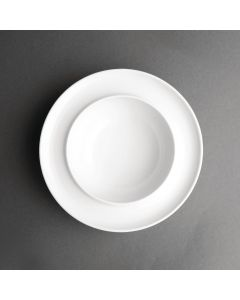 """This is an image of a Olympia Heritage White Raised Rim Bowl - 8"""" (Box 4)"""