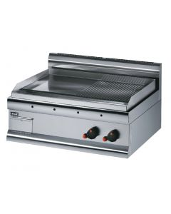 This is an image of a Lincat Silverlink 600 Steel Half Ribbed Propane Gas Griddle GS7RP
