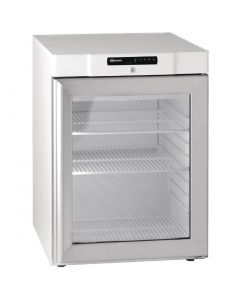 This is an image of a Gram Compact 1 Glass Door 125Ltr Undercounter Fridge White KG210 LG 3W