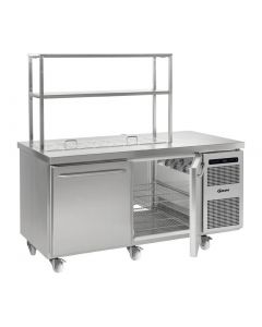 This is an image of a Gram Gastro 2 Door 586Ltr Pass-through Counter Fridge with Gantry K 1808 D CSH S OPL DL DR C2 U