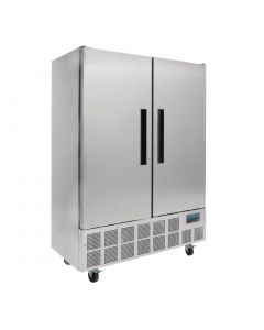 This is an image of a Polar Double Door Slimline Fridge Stainless Steel 960Ltr