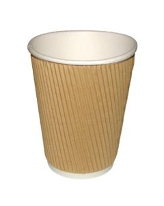 This is an image of a Fiesta Hot Cups Ripple Wall Kraft - 455ml (16oz) (Sleeve 25)