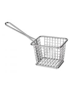 This is an image of a Olympia Square Presentation Basket StSt Small - 80(H)x100(W)x80mmD