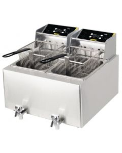 This is an image of a Buffalo 6kW Double Tank Countertop Fryer 2x8Ltr