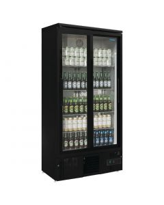 This is an image of a Polar Upright Back Bar Cooler with Sliding Doors in Black 490Ltr