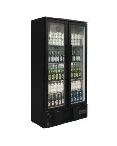 This is an image of a Polar Upright Back Bar Cooler with Hinged Doors in Black 490Ltr