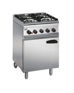 This is an image of a Lincat Silverlink 600 Natural Gas 4 Burner Range with Rear Castors SLR6CN
