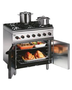 This is an image of a Lincat Silverlink 600 Natural Gas 6 Burner Range with Rear Castors SLR9CN