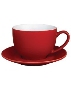 This is an image of a Olympia Cafe Cappuccino Cup Red - 340ml 12oz (Box 12)