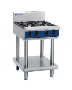 This is an image of a Blue Seal Evolution Cooktop 4 Open Burners Nat Gas on Stand 600mm G514D-LSN