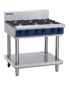 This is an image of a Blue Seal Evolution Cooktop 6 Open Burners Nat Gas on Stand 900mm G516D-LSN