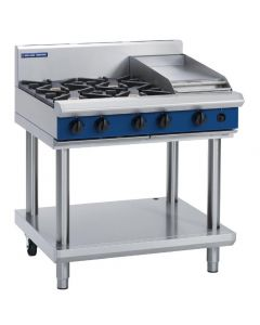 This is an image of a Blue Seal Evolution Cooktop 4 Open1 Griddle Burner LPG on Stand 900mm G516C-LSL