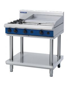This is an image of a Blue Seal Evolution Cooktop 2 Open1 Griddle Burner Nat Gas on Stand 900mm G516B-LSN
