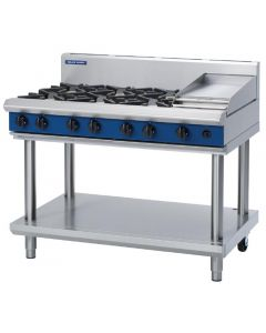 This is an image of a Blue Seal Evolution Cooktop 6 Open1 Griddle Burner Natural Gas on Stand 1200mm G518C-LSN