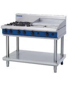 This is an image of a Blue Seal Evolution Cooktop 4 Open 1 Griddle Burner LPG on Stand1200mm G518B-LSL
