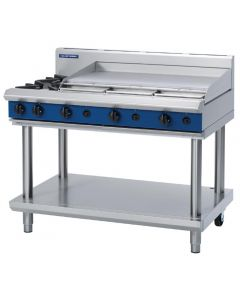 This is an image of a Blue Seal Evolution Cooktop 2 Open1 Griddle Burner LPG on Stand 1200mm G518A-LSL