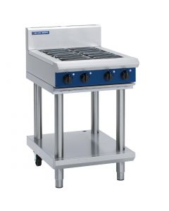 This is an image of a Blue Seal Evolution Leg Stand Cooktop 4 Element Electric 600mm E514D-LS