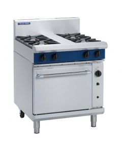 This is an image of a Blue Seal Evolution 4 Burner Convection Oven Natural Gas 750mm G54DN