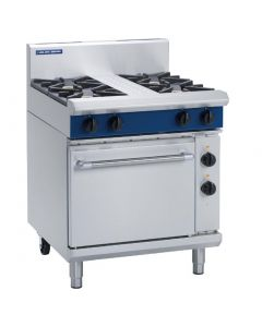 This is an image of a Blue Seal Evolution 4 Burner Electric Static Oven Natural Gas 750mm GE505DN