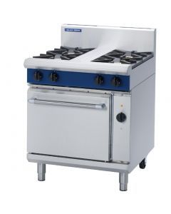 This is an image of a Blue Seal Evolution 4 Burner Electric Convection Oven Natural Gas 750mm GE54DN