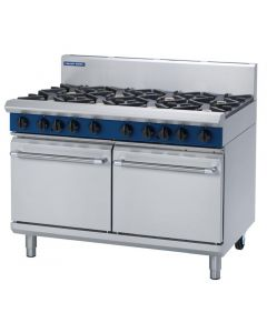 This is an image of a Blue Seal Evolution 8 Burner Double Static Oven Nat Gas 1200mm G528DN