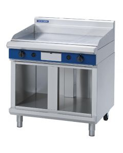 This is an image of a Blue Seal Evolution Chrome 13 Ribbed Griddle with Cabinet Base LPG 900mm GP516-CBL