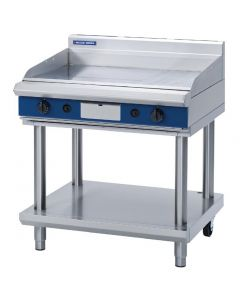 This is an image of a Blue Seal Evolution Chrome 13 Ribbed Griddle with Leg Stand LPG 900mm GP516-LSL
