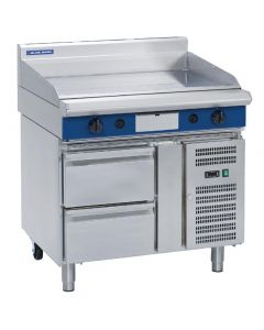 This is an image of a Blue Seal Evolution Griddle Refrigerated Base LPG 900mm GP516-RBL