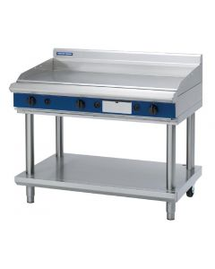 This is an image of a Blue Seal Evolution Chrome Griddle with Leg Stand LPG 1200mm GP518-LSL